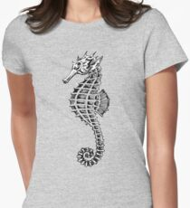 Retro Sea Horse Print Women's Fitted T-Shirt