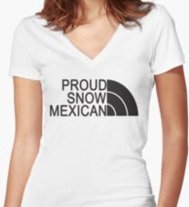 Proud Snow Mexican Women's Fitted V-Neck T-Shirt