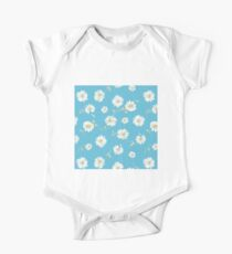 Spoon flowers, white,green,yellow,blue background,modern,trendy,cute,girly Kids Clothes