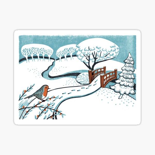 Snow, Bournemouth Gardens - Original linocut by Francesca Whetnall Sticker