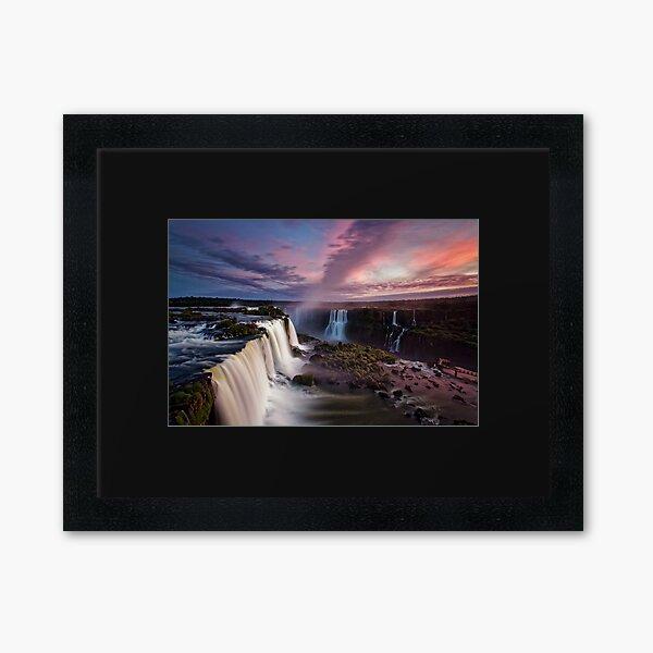 Iguazu Falls Sunset Framed Art Print