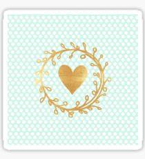 cute, modern,trendy,mint,white,polka dots, gold,handpainted,heart,ribbon Sticker