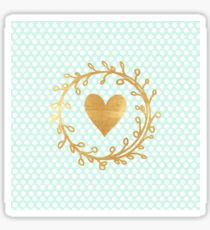 cute, modern,trendy,mint,white,polka dots, gold,handpainted,heart,ribbon Sticker