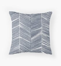 White Herringbone on Navy Throw Pillow
