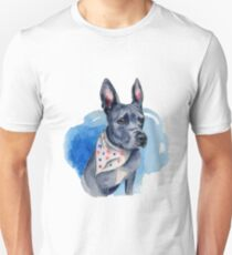 Blue Pit Bull Dog Watercolor Painting T-Shirt