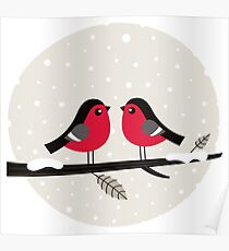 New in shop : Christmas vintage 2 birds edition Poster