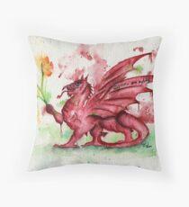 Welsh Dragon Watercolour Throw Pillow