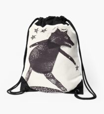Dog Star Catcher folk art style animal Drawstring Bag