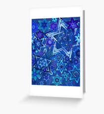 Star of David Hanukkah Night Sky 2 Greeting Card