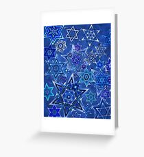 Star of David Hanukkah Night Sky 1 Greeting Card