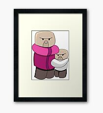 Minecraft Villagers Chibi Funny Framed Print
