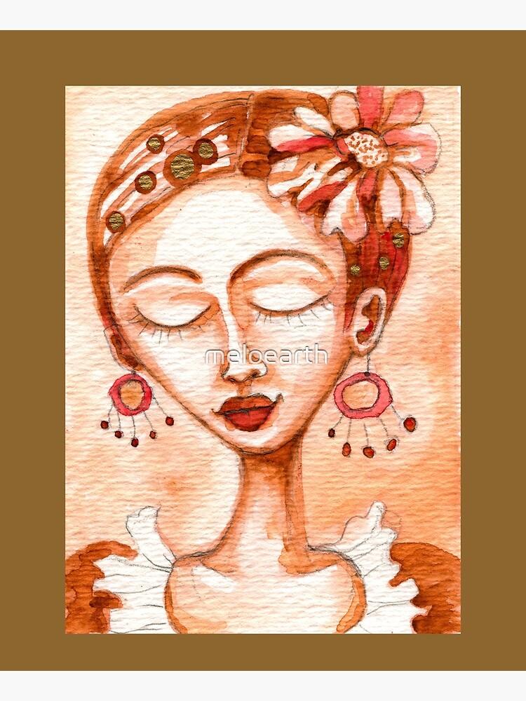 Frida Kahlo Portrait, Amber Orange Brown Colors, Meloearth  by meloearth