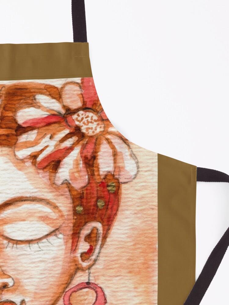 Alternate view of Frida Kahlo Portrait, Amber Orange Brown Colors, Meloearth  Apron