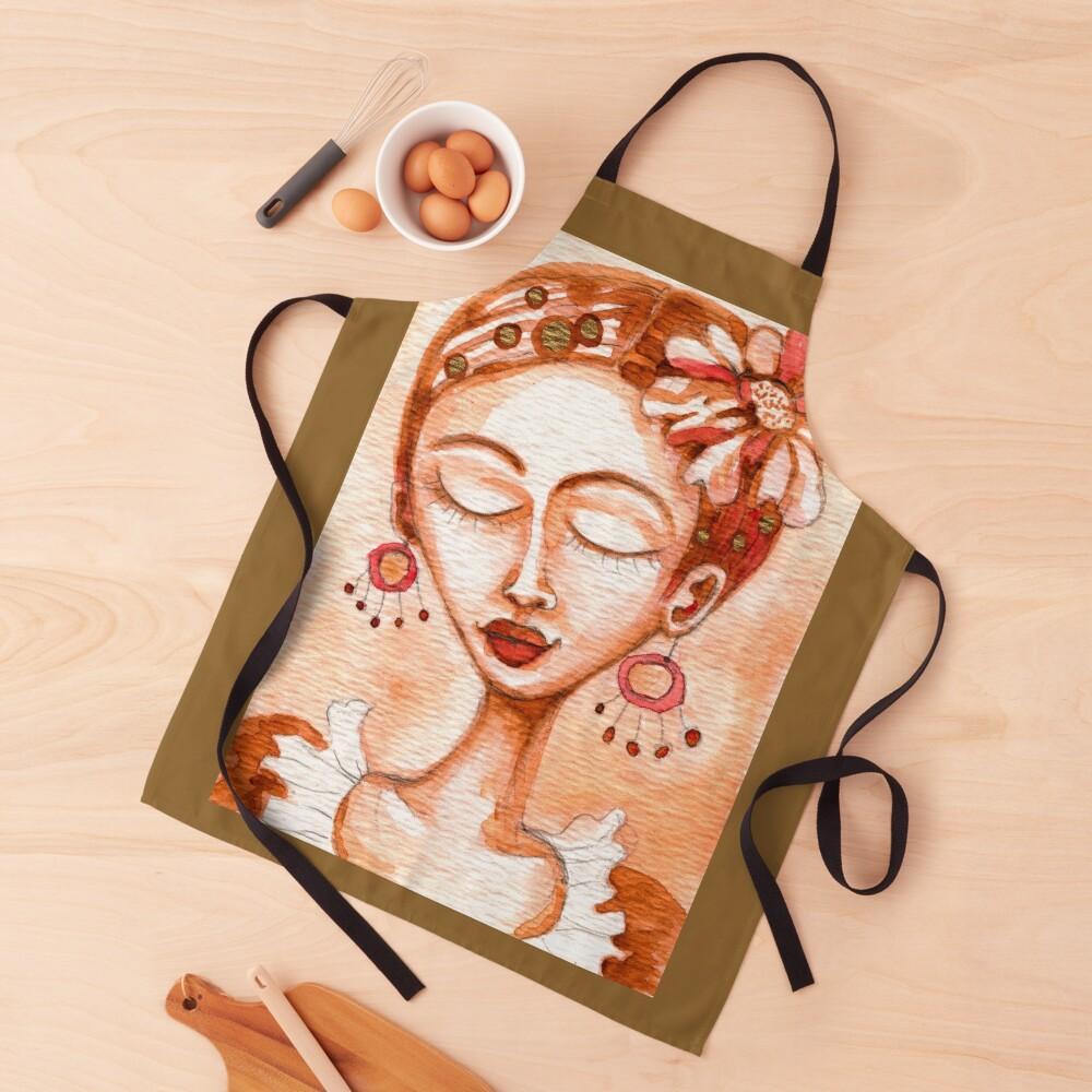 Frida Kahlo Portrait, Amber Orange Brown Colors, Meloearth  Apron