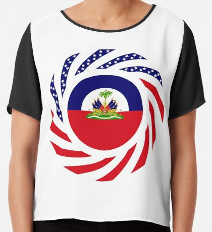 Haitian American Multinational Patriot Flag Series Chiffon Top