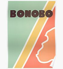 Bonobo - Retro four-coloured line drawing Poster