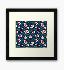Floral Pattern   Deep Navy Framed Print