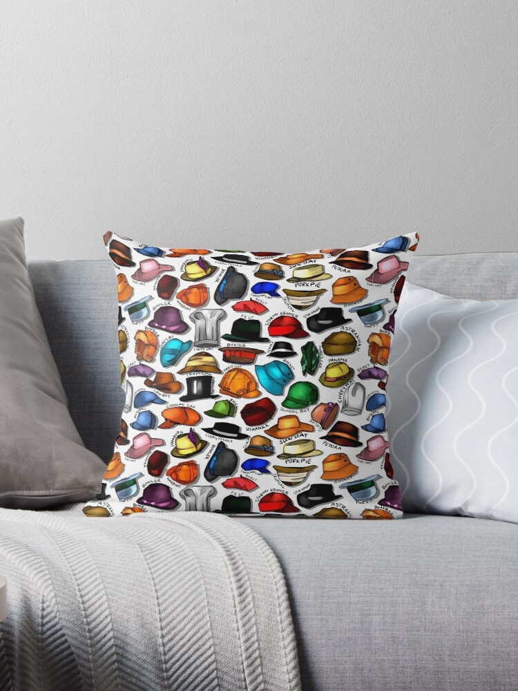 All Types Of Hats Throw Pillows By Juanwheyne Redbubble
