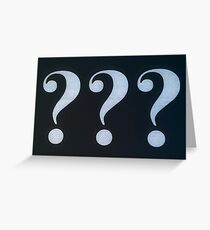 Question Marks White on Black Greeting Card