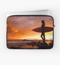 Silhouette Of Surfer Girl Laptop Sleeve
