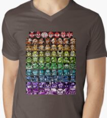 Mega Man Robot Masters Rainbow Men's V-Neck T-Shirt