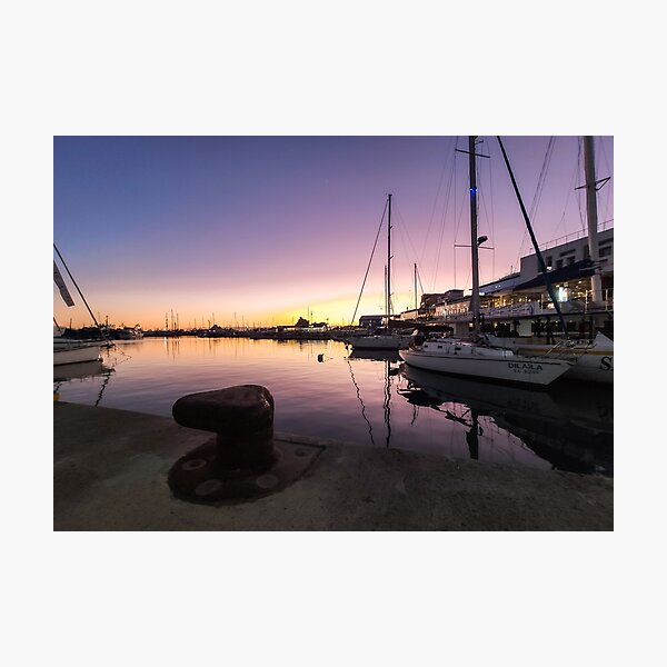 Sunset at the old port - Limassol Cyprus Photographic Print
