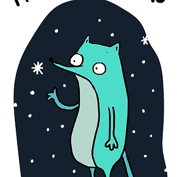 Teal Dog in Snow  by boundlessamber