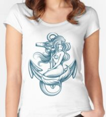 Mermaid on the Anchor Women's Fitted Scoop T-Shirt
