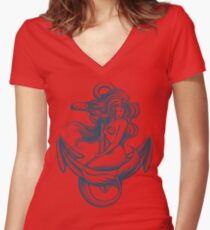 Mermaid on the Anchor Women's Fitted V-Neck T-Shirt
