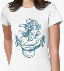 Mermaid on the Anchor Womens Fitted T-Shirt