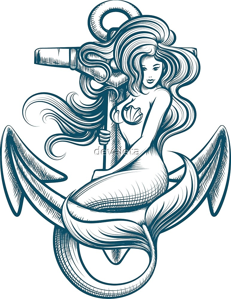 Mermaid on the Anchor by devaleta