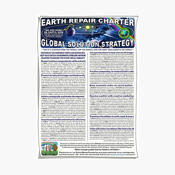 Earth Repair Charter Global Solution Strategy Photographic Print