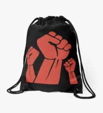 Fight The Power - Red Fists Drawstring Bag