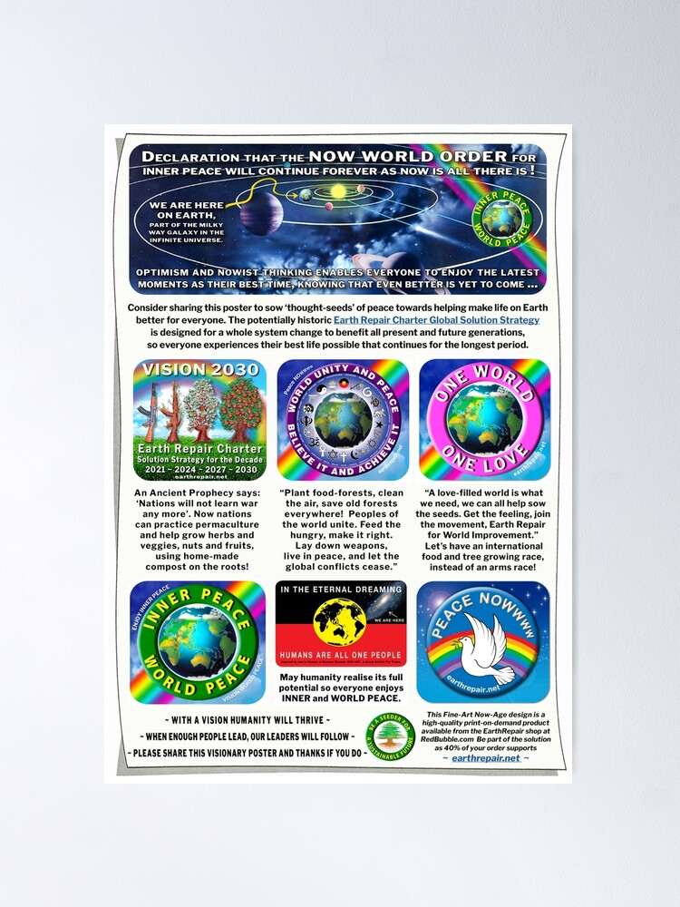 Alternate view of EarthRepair ART for the NOW WORLD ORDER Decade For Peace 2021 ~ 2030 Poster