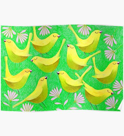 Gold birdies on lime Poster