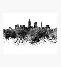 Cleveland skyline in black watercolor on white background Photographic Print