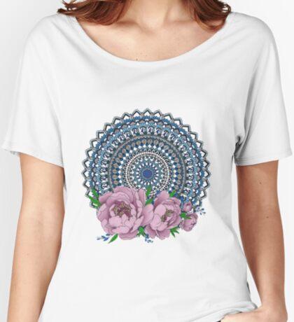 Blue peony mandala Relaxed Fit T-Shirt