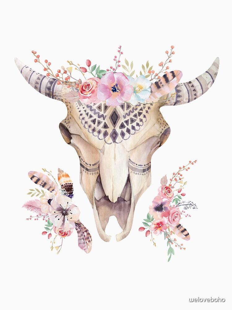 Floral cow skull de weloveboho