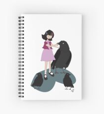 Girl with crows Spiral Notebook