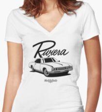 Buick Riviera (49487) '1966 (white) Women's Fitted V-Neck T-Shirt