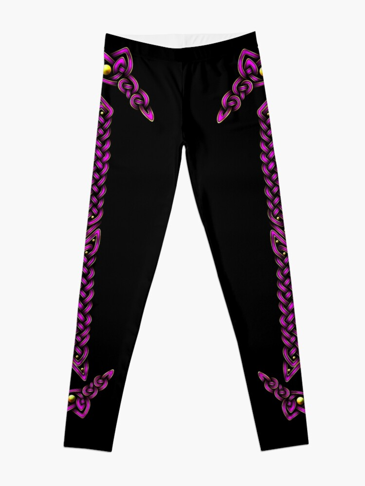 Alternate view of Celtic Knotwork - Gold and Pink Leggings