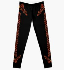 Celtic Knotwork - Gold and Red Leggings