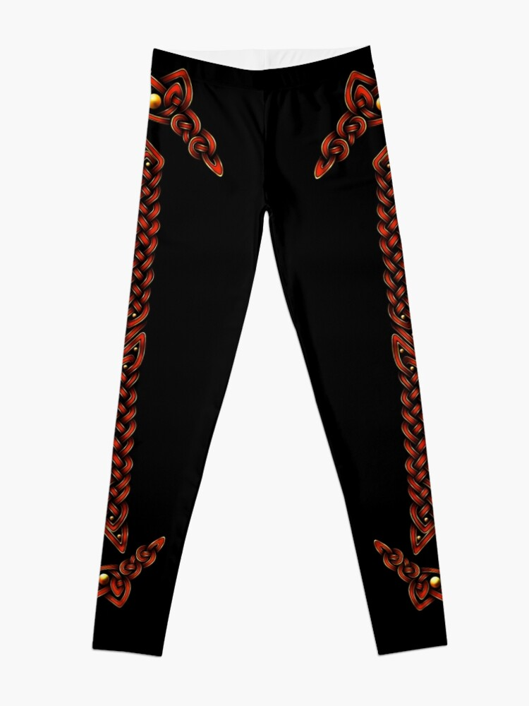 Alternate view of Celtic Knotwork - Gold and Red Leggings