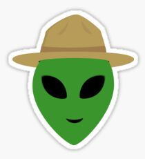 Alien with park ranger hat Sticker