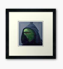 Hooded Kermit Meme (Evil Kermit Meme) T-Shirts, Hoodies, Stickers Framed Print