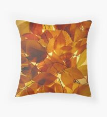 Glowing Autumn Leaves. Throw Pillow
