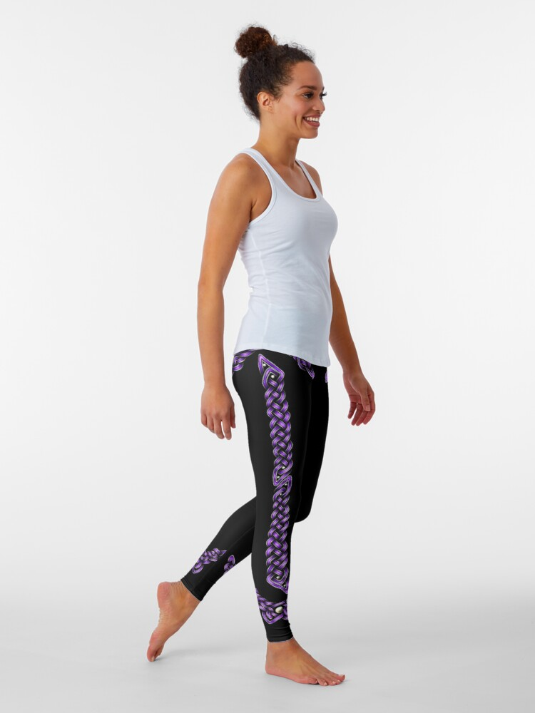 Alternate view of Celtic Knotwork - Silver and Purple Leggings