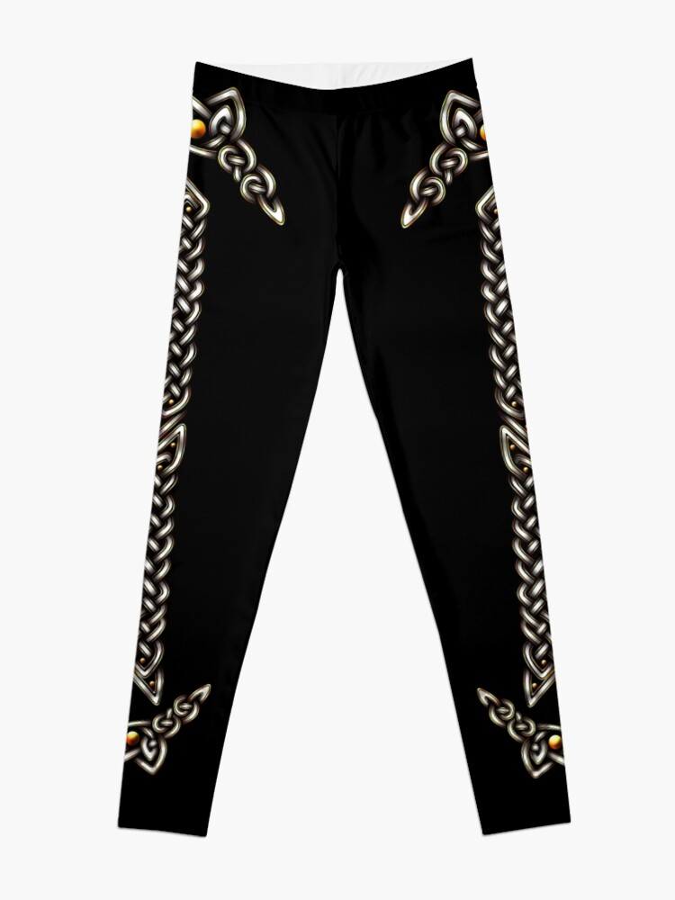 Alternate view of Celtic Knotwork - Gold and White Leggings