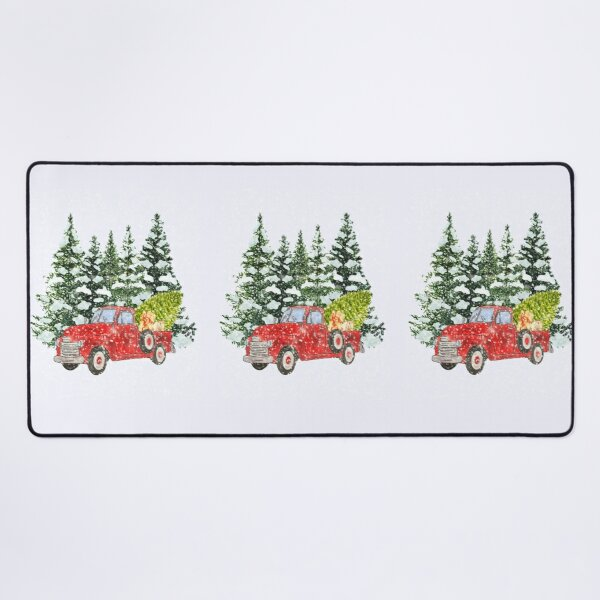 Antique Red Truck Winter Forest Landscape  Desk Mat