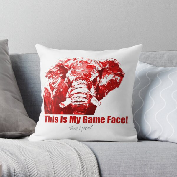 This is My Game Face_red color by Thomas Andrew Throw Pillow